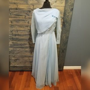 Vintage 60s 70s Gown Chiffon Baby Blue
